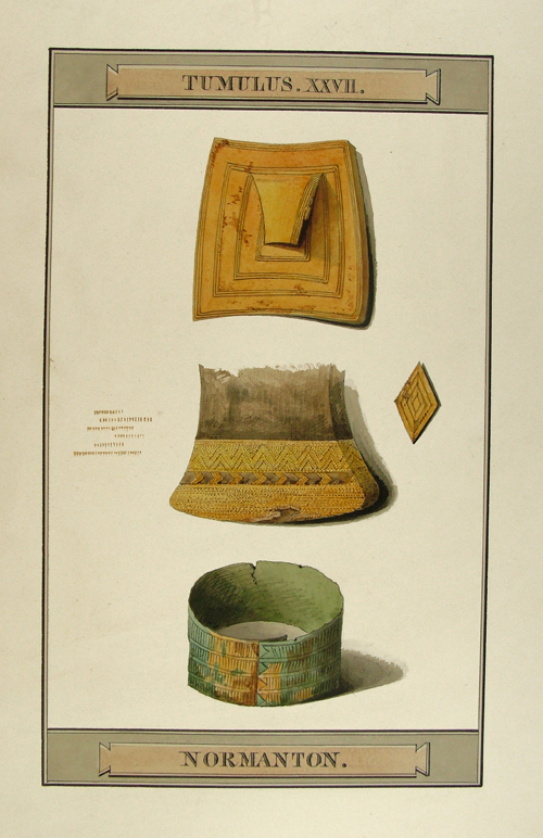 Watercolour drawn by Philip Crocker in 1808 showing the dagger handle when it was excavated.
