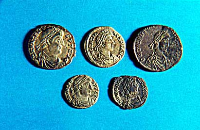 Five Roman coins from the Bowerchalke Hoard.
