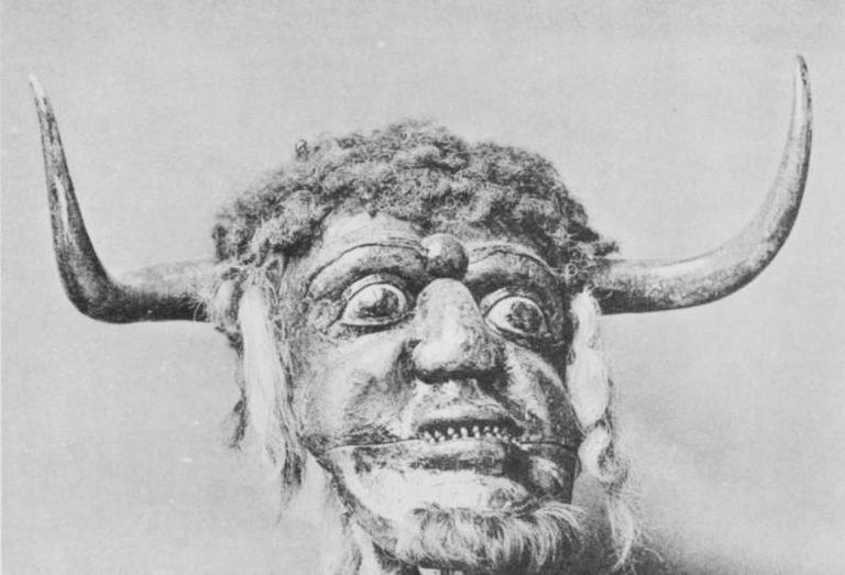 Old photo of the original Dorset Ooser mask.