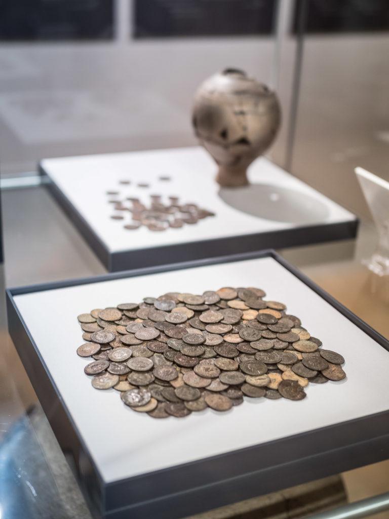 Roman coins on display at Salisbury Museum.