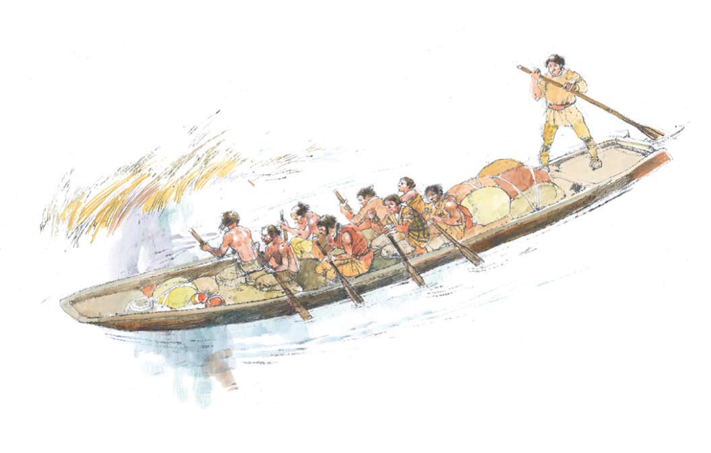 Artist's reconstruction of the logboat in use. One man standing up who is steering, and eight rowing.