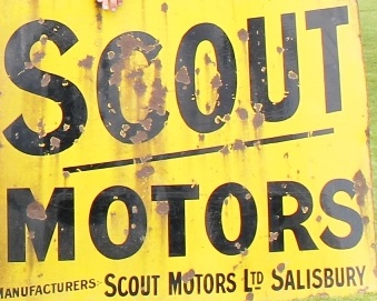 Yellow sign advertising Scout Motors.