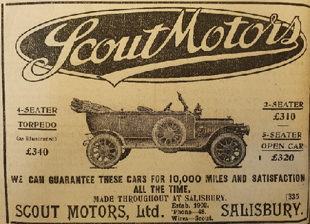 Newspaper advert for Scout Motors showing costs of various cars.