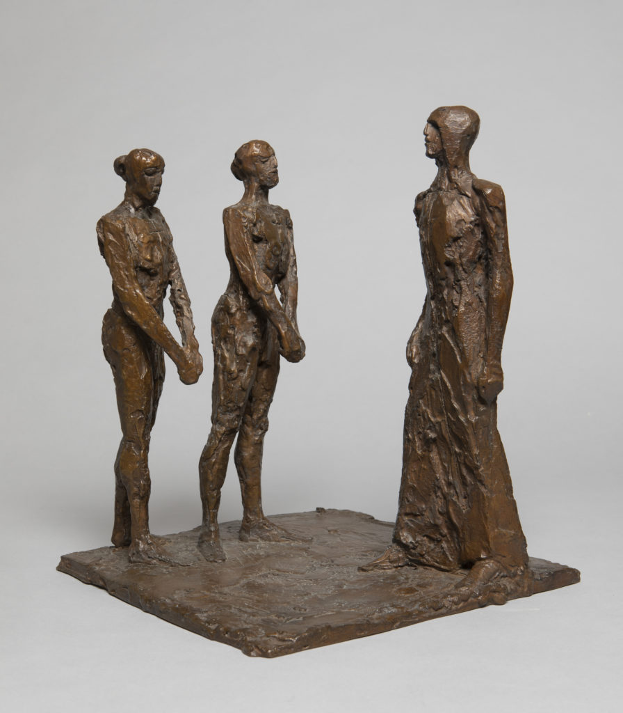 Maquette of three figures - two martyrs with hands bound, standing in front of a soldier.