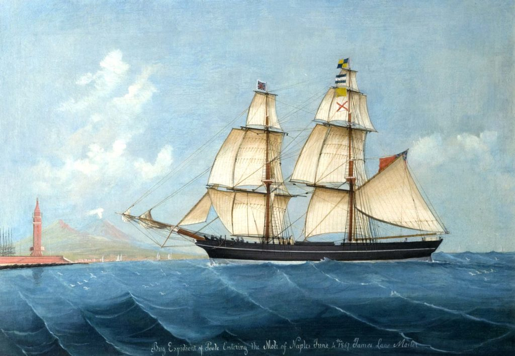 Painting of a historic ship entering the Bay of Naples, 1867.