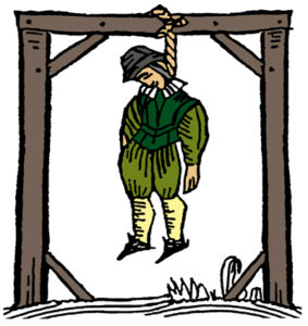 Illustration of a man hanging on Dorchester Gallows.
