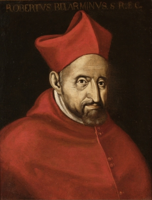 Painting of Roberto Bellarmino in red cardinal's hat and gown.