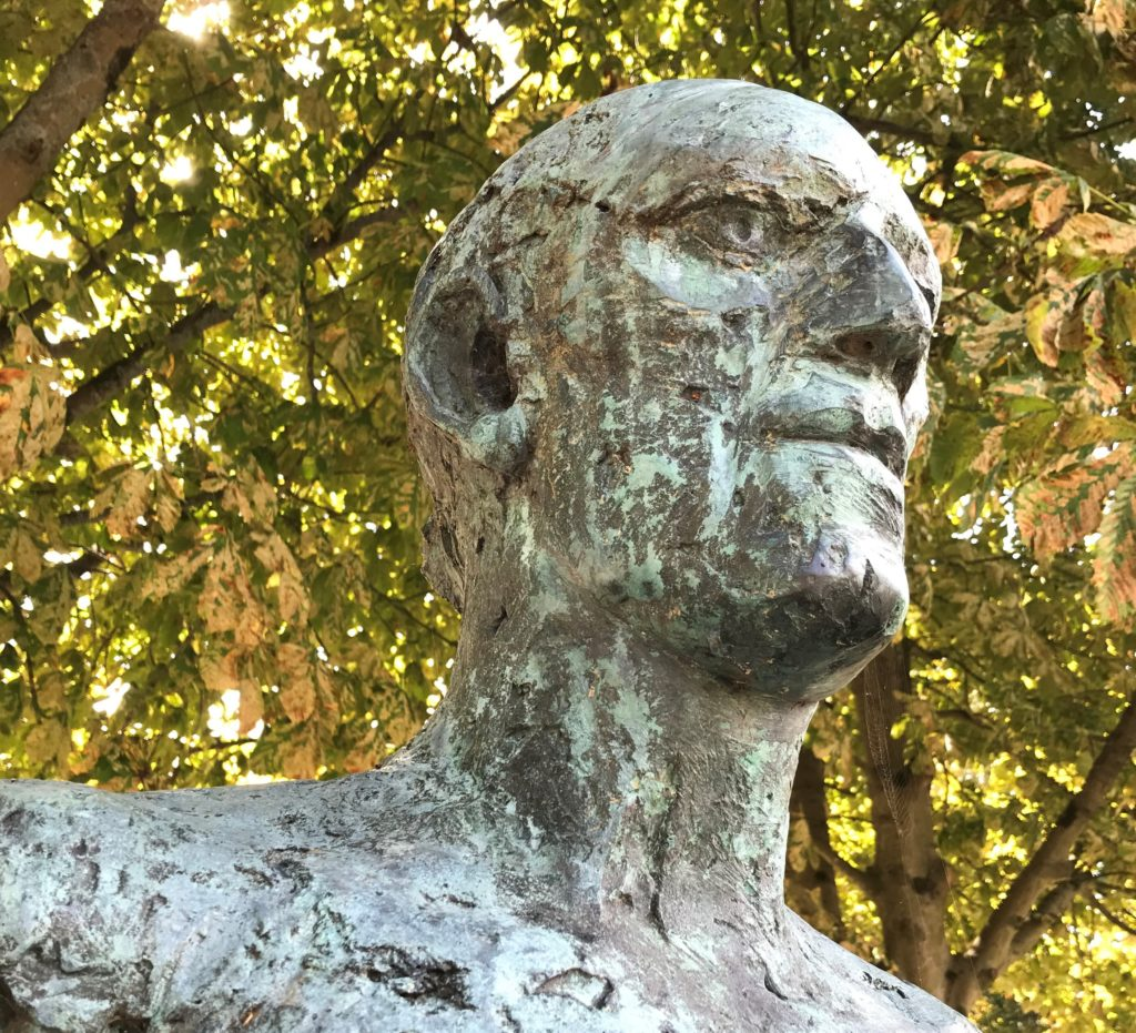 Close up of the face of one of the Dorset Martyrs, created in bronze by Elisabeth Frink.