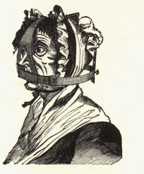 Old black and white of illustration showing an old woman wearing a scold's bridle.