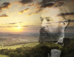 Sunset over Wessex landscape with image of Thomas Hardy superimposed over it