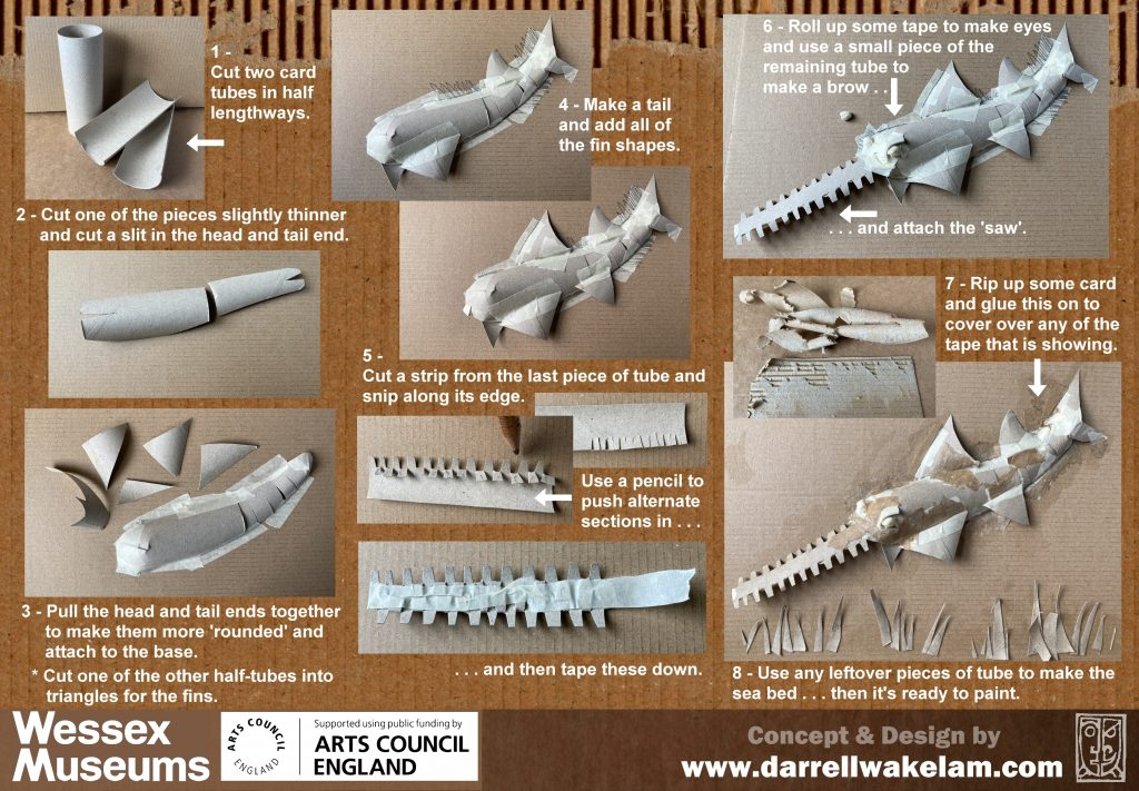 Instructions for making a cardboard sawfish
