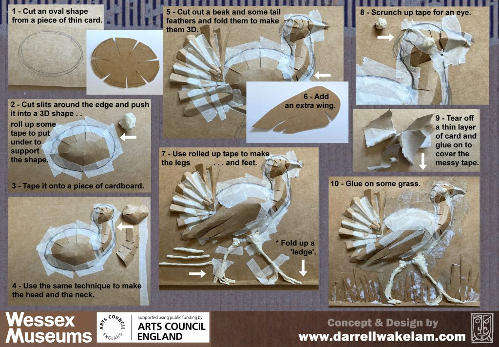 Instructions for making cardboard great bustard