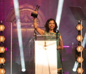 Dr Anjana Khatwa holding her diversity award