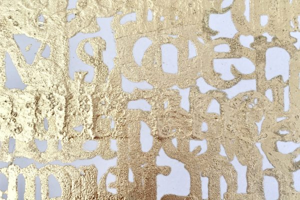 Lettering in gold leaf, work in progress for Midas artworks.